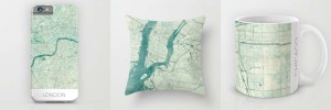 Vintage Map - Phone Case, Pillow, Mug