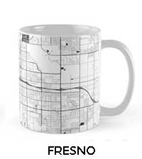Fresno Map City Art Posters