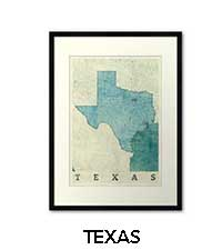 Texas Map City Art Posters