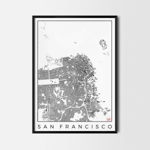 San Francisco Urban plan city map art schwarzplan