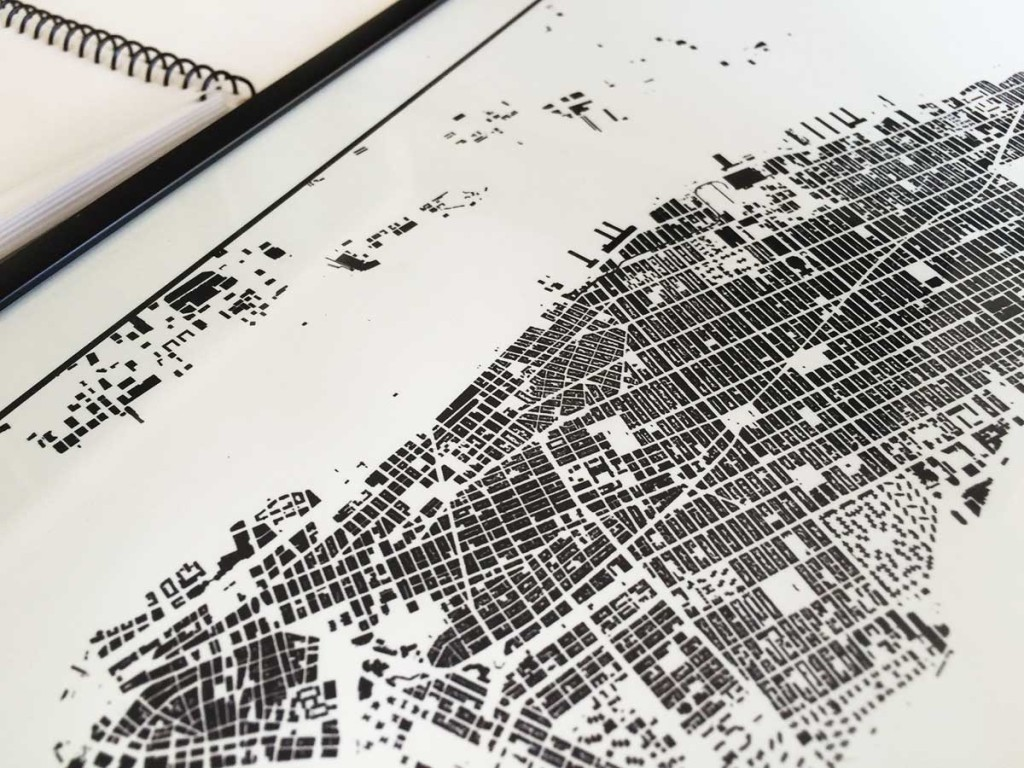 City Map Art Drawing Of The New York Neighborhood Map Poster - New york city map drawing