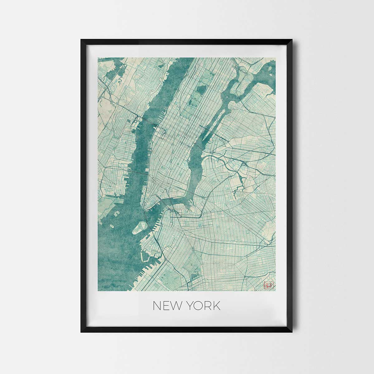 City Map Prints New York art posters   City Art Map Posters and Prints