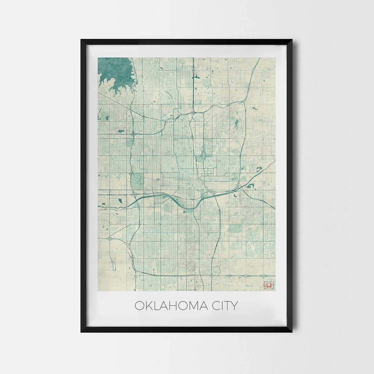 Oklahoma City art posters - City Art Map Posters and Prints on