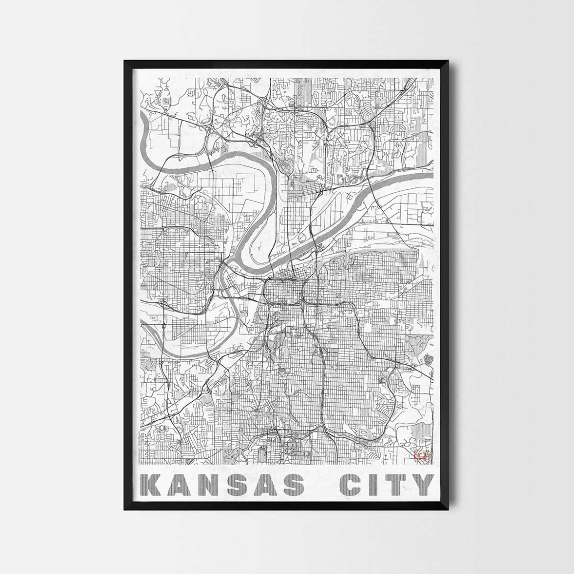 Kansas gift map art prints and posters home decor gifts for Home decor kansas city