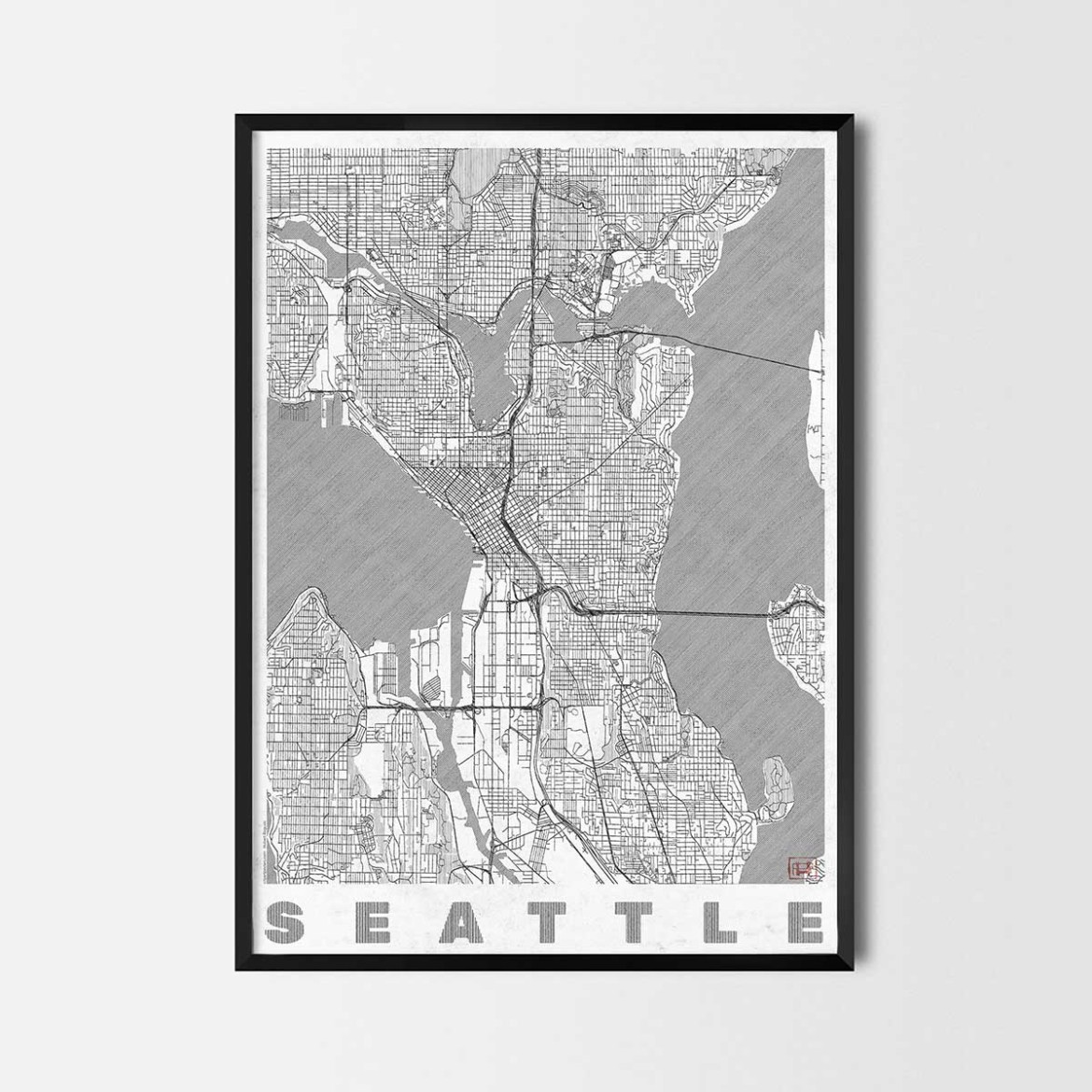 Seattle gift map art prints and posters home decor gifts seattle gumiabroncs Image collections