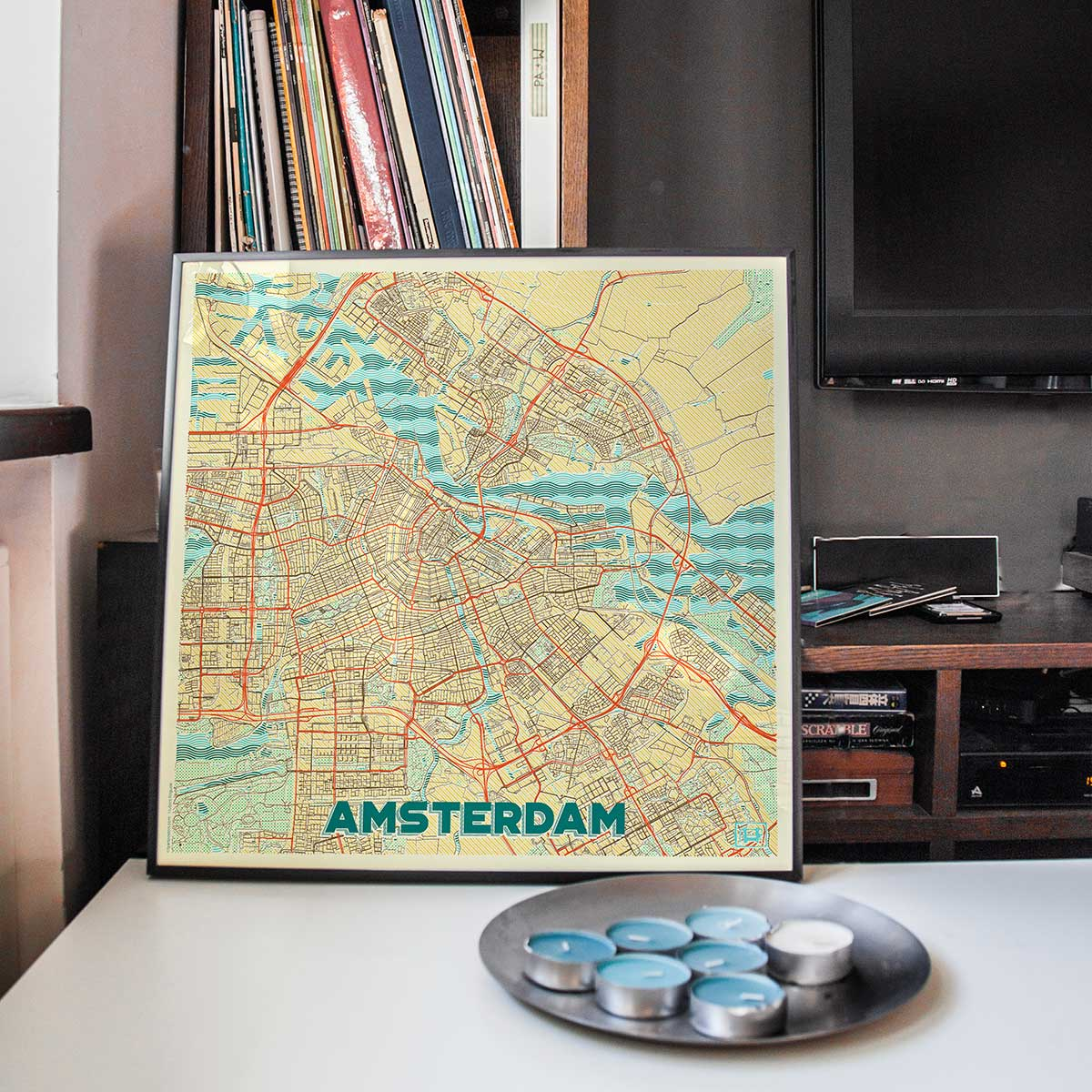Amsterdam Map Prints Retro Posters