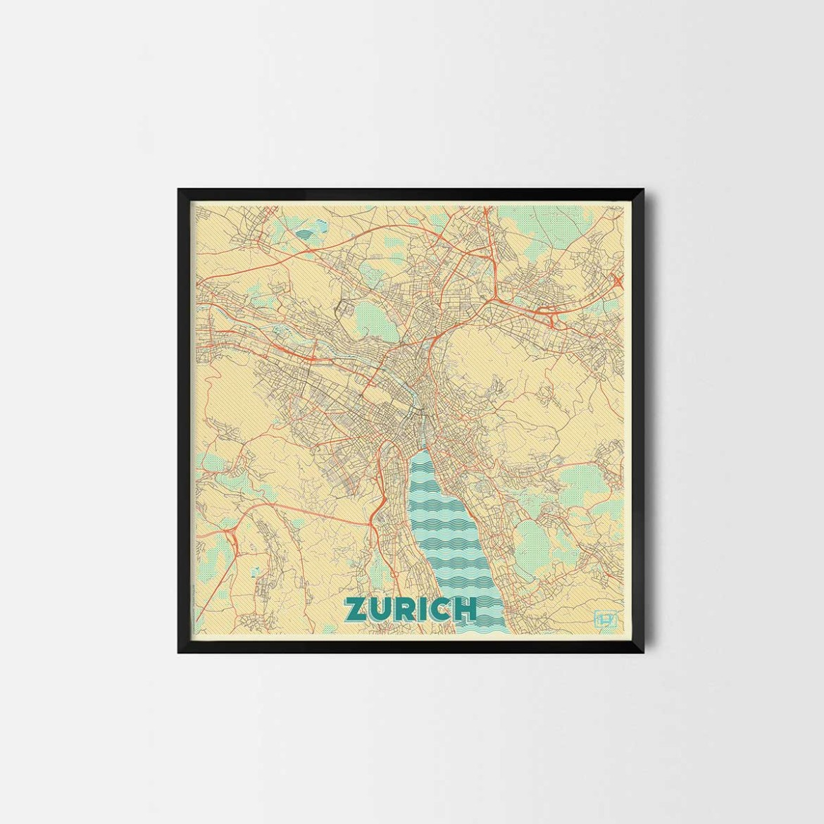 Zurich gift map art prints and posters home decor gifts for Home decor zurich