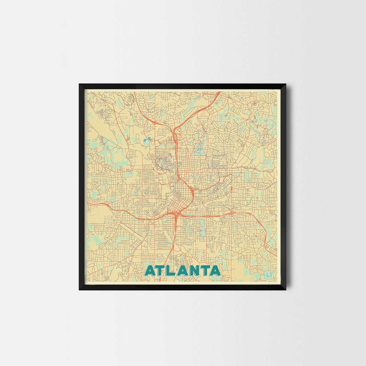 Atlanta gift - Map Art Prints and Posters, Home Decor Gifts