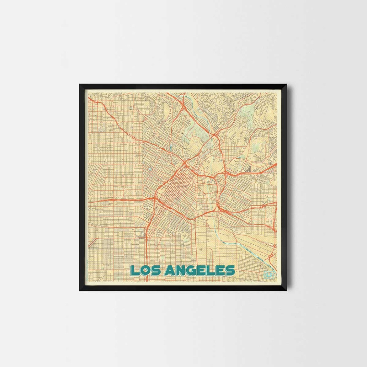 Los angeles gift map art prints and posters home decor for Home decor los angeles