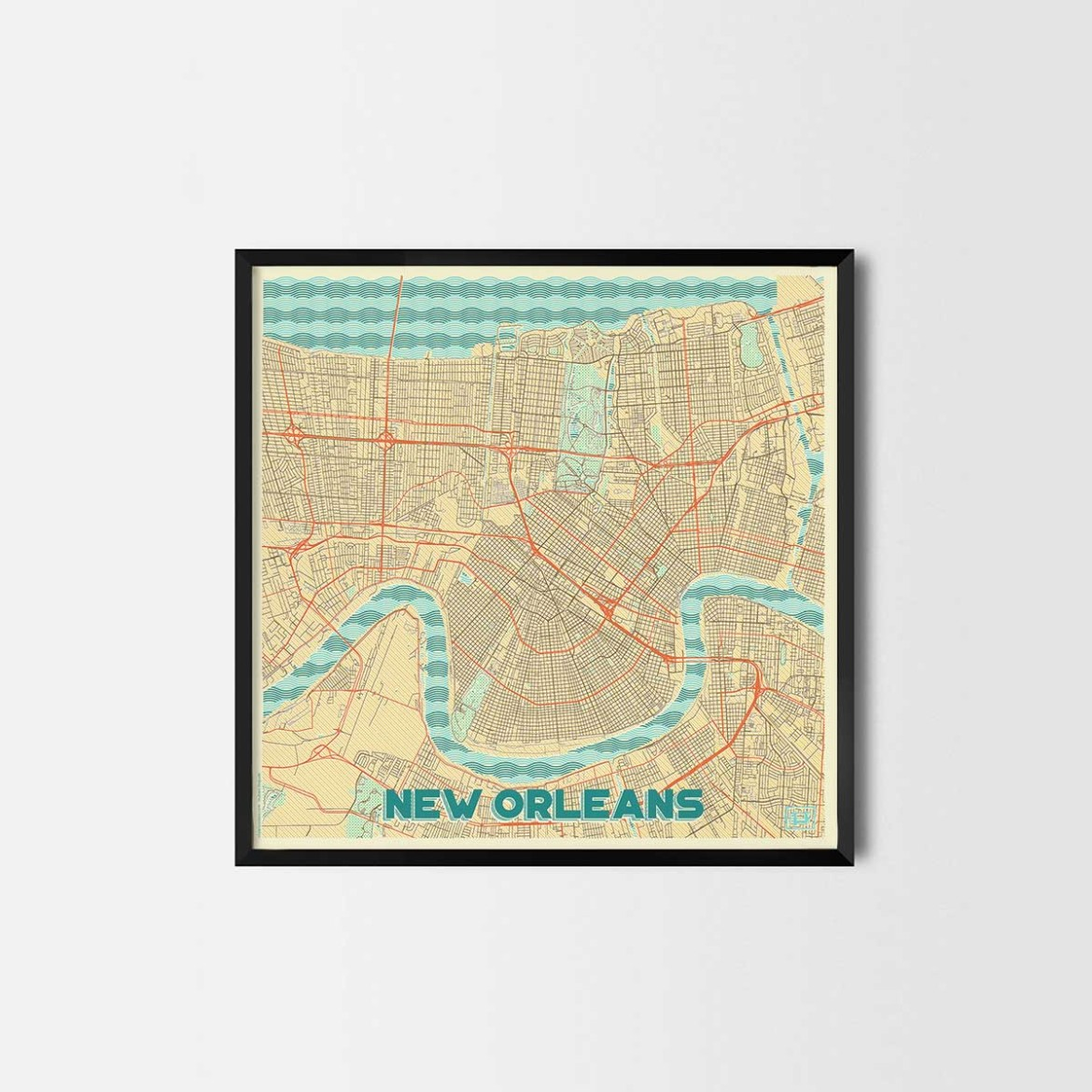 New Orleans gift - Map Art Prints and Posters, Home Decor Gifts