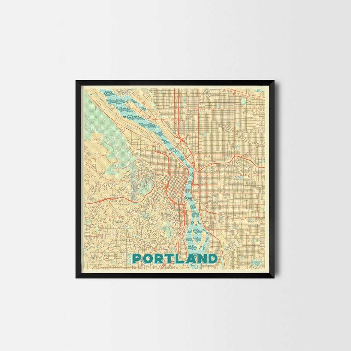 Portland gift - Map Art Prints and Posters, Home Decor Gifts