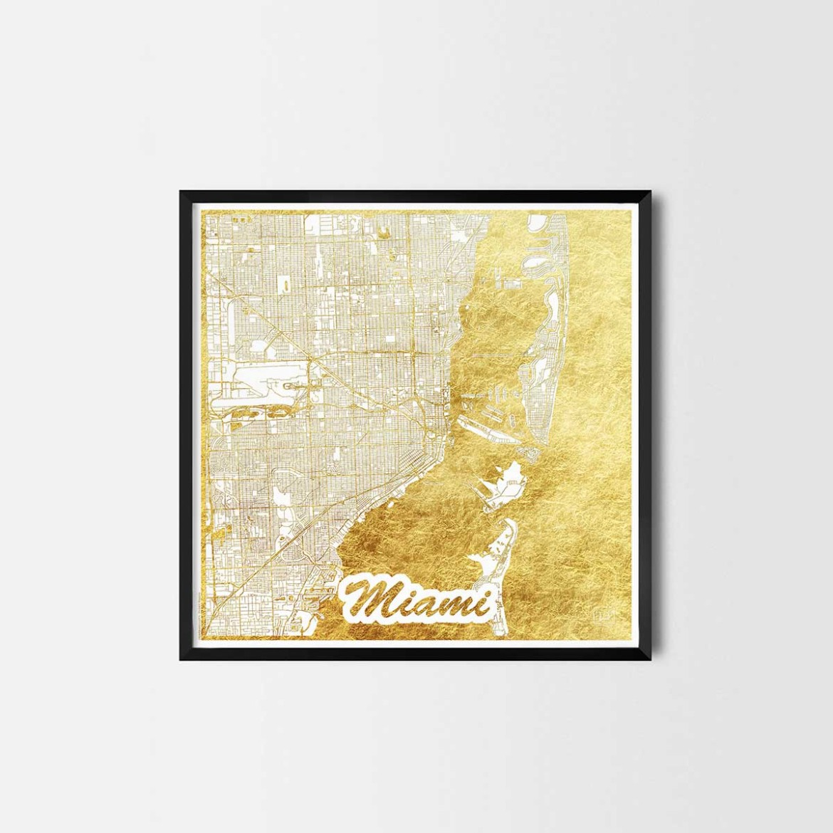 Miami gift - Map Art Prints and Posters, Home Decor Gifts