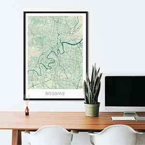 Brisbane gift map art gifts posters cool prints neighborhood gift ideas