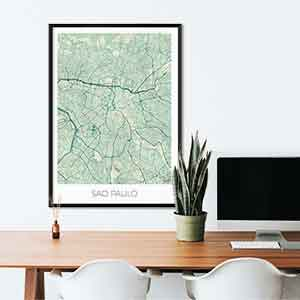 Sao Paulo gift map art gifts posters cool prints neighborhood gift ideas