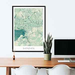 Shenzhen gift map art gifts posters cool prints neighborhood gift ideas