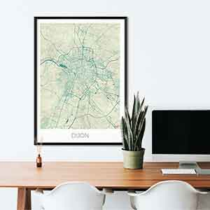 Dijon gift map art gifts posters cool prints neighborhood gift ideas