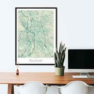 Toulouse gift map art gifts posters cool prints neighborhood gift ideas