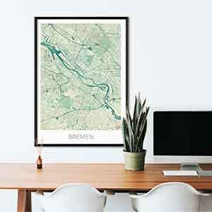 Bremen gift map art gifts posters cool prints neighborhood gift ideas