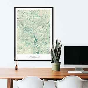 Hanover gift map art gifts posters cool prints neighborhood gift ideas