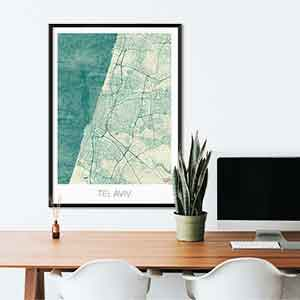 Tel Aviv gift map art gifts posters cool prints neighborhood gift ideas