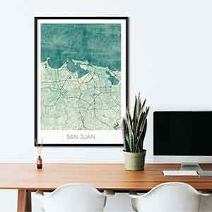 San Juan gift map art gifts posters cool prints neighborhood gift ideas