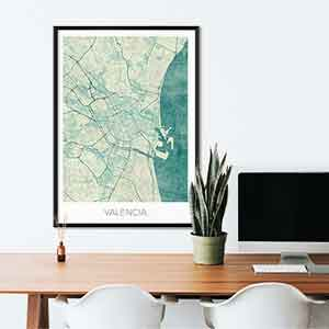 Valencia gift map art gifts posters cool prints neighborhood gift ideas