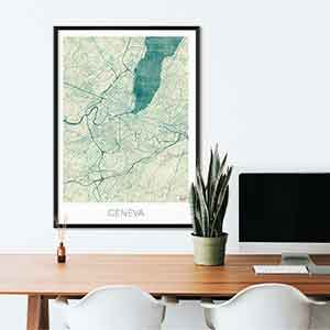 Geneva gift map art gifts posters cool prints neighborhood gift ideas
