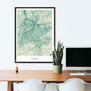Taipei gift map art gifts posters cool prints neighborhood gift ideas