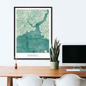 Istanbul gift map art gifts posters cool prints neighborhood gift ideas