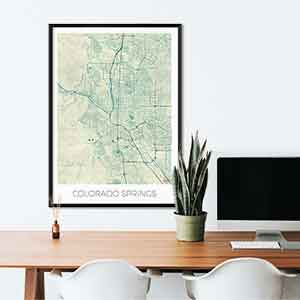 Colorado Springs gift map art gifts posters cool prints neighborhood gift ideas