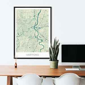 Hartford gift map art gifts posters cool prints neighborhood gift ideas