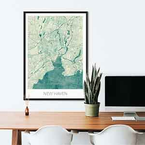 New Haven gift map art gifts posters cool prints neighborhood gift ideas
