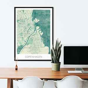 Copenhagen gift map art gifts posters cool prints neighborhood gift ideas
