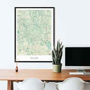 Milan gift map art gifts posters cool prints neighborhood gift ideas
