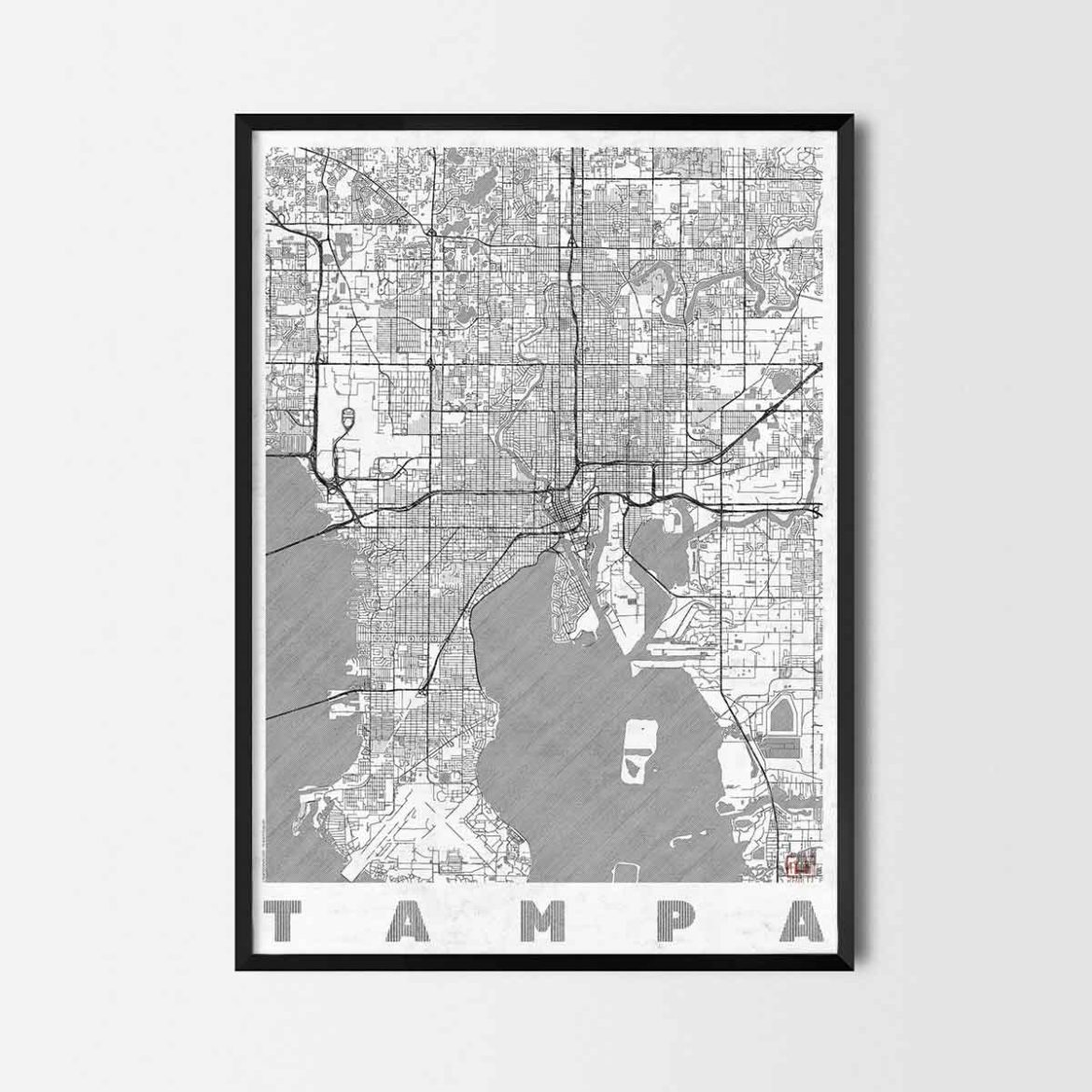 Tampa gift map art prints and posters home decor gifts Home decor tampa