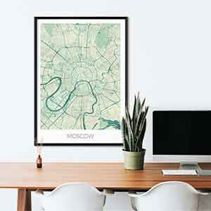 Moscow gift map art gifts posters cool prints neighborhood gift ideas