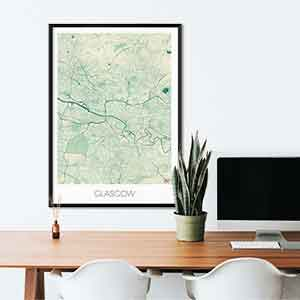 Glasgow gift map art gifts posters cool prints neighborhood gift ideas