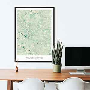 Manchester gift map art gifts posters cool prints neighborhood gift ideas