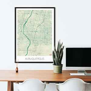 Albuquerque Gift Map Art Prints And Posters Home Decor Gifts - Us map albuquerque