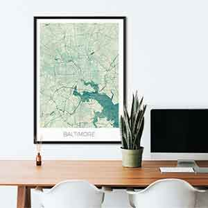 Baltimore gift map art gifts posters cool prints neighborhood gift ideas