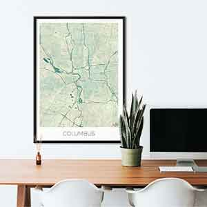 Columbus gift map art gifts posters cool prints neighborhood gift ideas