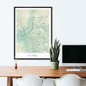 El Paso gift map art gifts posters cool prints neighborhood gift ideas