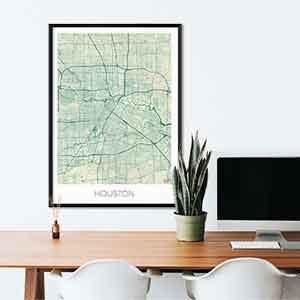 Houston gift map art gifts posters cool prints neighborhood gift ideas