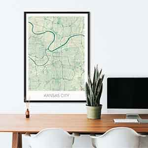 Kansas gift map art gifts posters cool prints neighborhood gift ideas