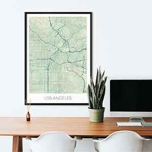 Los Angeles gift map art gifts posters cool prints neighborhood gift ideas