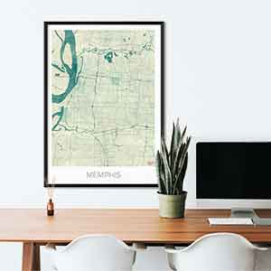 Memphis gift map art gifts posters cool prints neighborhood gift ideas