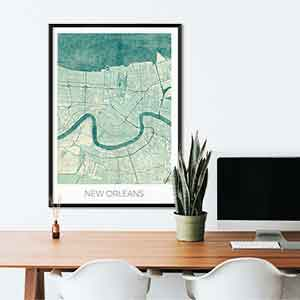 New Orleans gift map art gifts posters cool prints neighborhood gift ideas