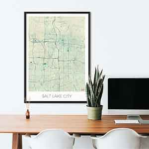 Salt Lake City gift map art gifts posters cool prints neighborhood gift ideas