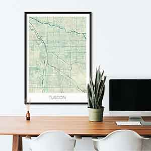 Tuscon gift map art gifts posters cool prints neighborhood gift ideas