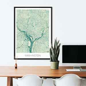 Washington gift map art gifts posters cool prints neighborhood gift ideas